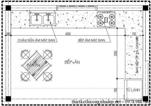 Mặt bằng phòng bếp nhà cấp 4