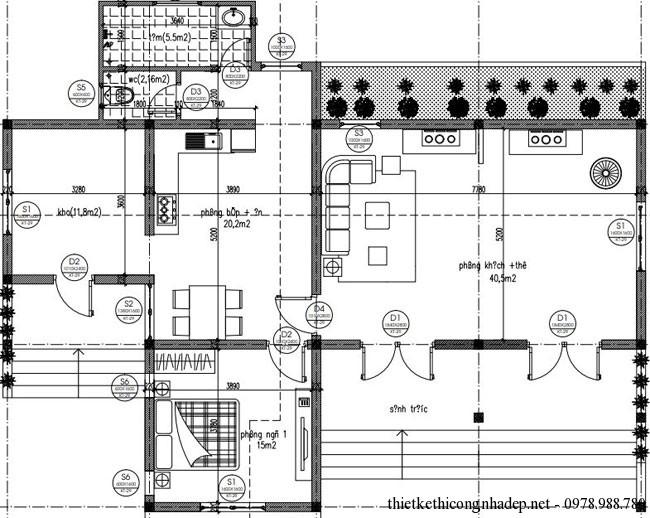Mặt bằng bố trí phòng và nội thất nhà cấp 4