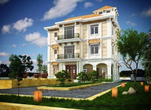 Thiết kế biệt thự vườn 3 tầng mái thái hiện đại