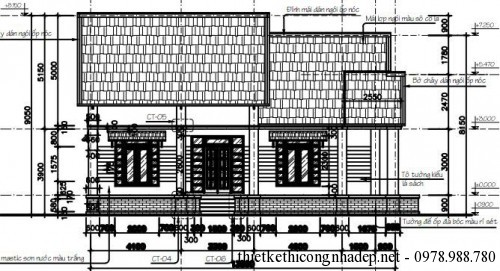Mặt đứng trục 1-4 nhà cấp 4