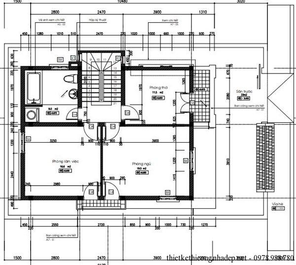 Mặt bằng tầng 3 của biệt thự 3 tầng