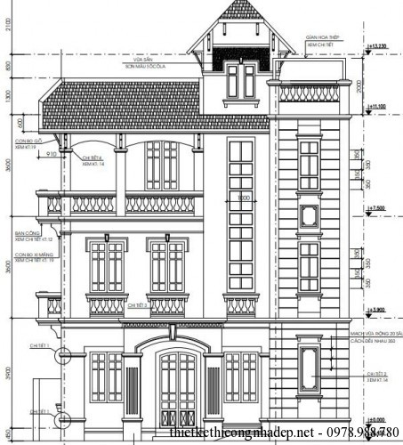 Thiết kế biệt thự 3 tầng kiến trúc cổ điển 7.93 x 10.26 mét