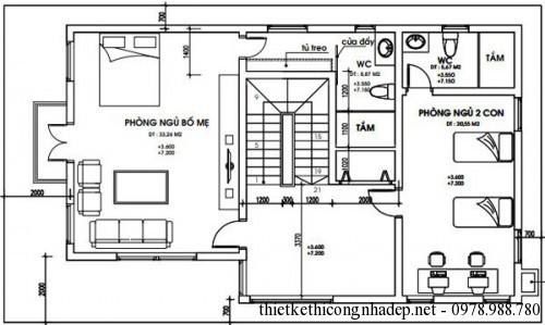 Mặt bằng tầng 2 và tầng 3 biệt thự 3 tầng