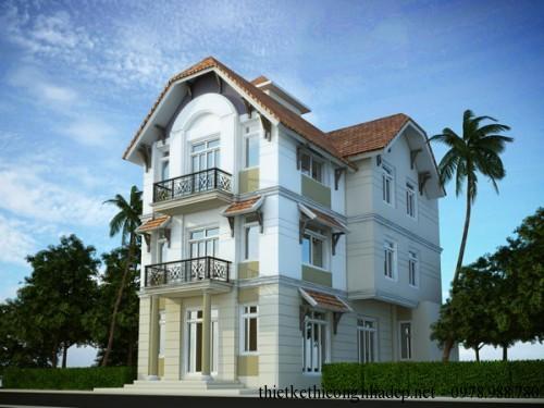 Thiết kế kiến trúc biệt thự 3 tầng hiện đại 9 x 14 mét