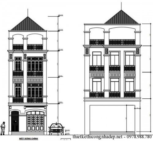 Bản vẽ thiết kế nhà phố 3 tầng cổ điển mặt tiền 4m 8