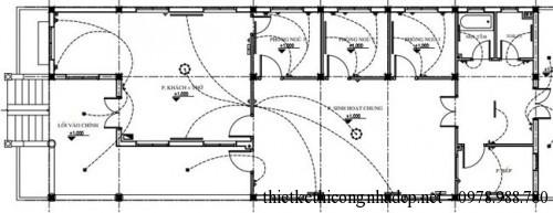 Mặt bằng cấp thoát điện nước cho nhà cấp 4