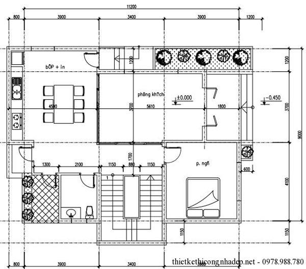 mặt bằng tầng 1 biệt thự 3 tầng