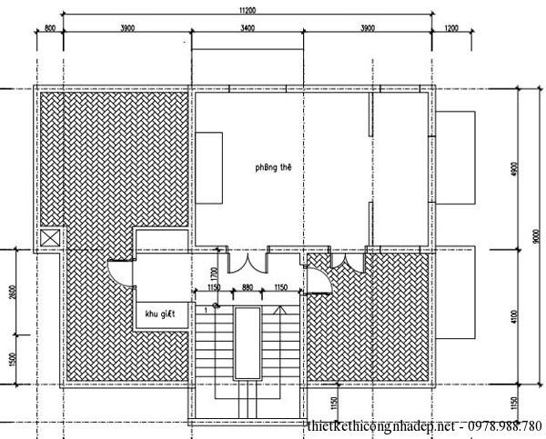 mặt bằng tầng mái biệt thự 3 tầng