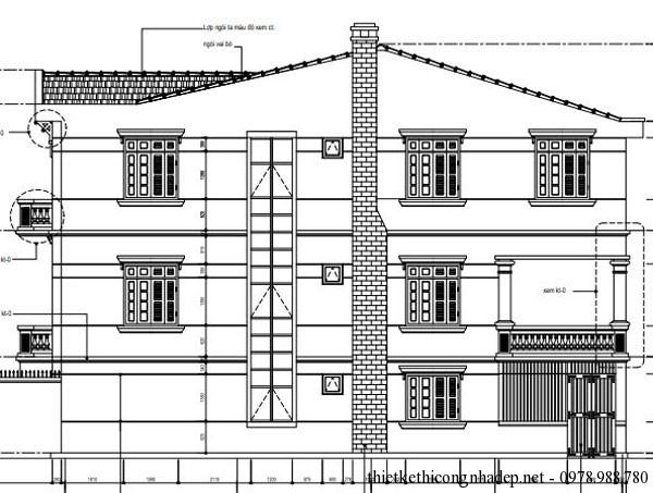 mặt cắt nhà phố 3 tầng diện tích 5x20m