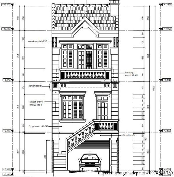 mặt tiền nhà phố 3 tầng diện tích 5x20m
