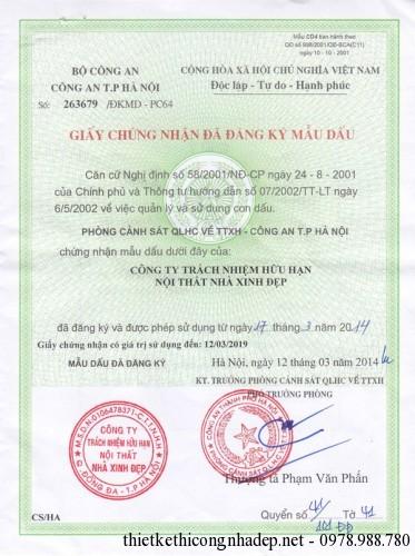 Mẫu dấu đăng ký của công ty Nội thất nhà xinh đẹp