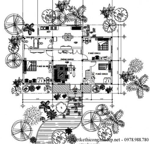 Mặt bằng bố trí sân vườn của biệt thự 1 tầng