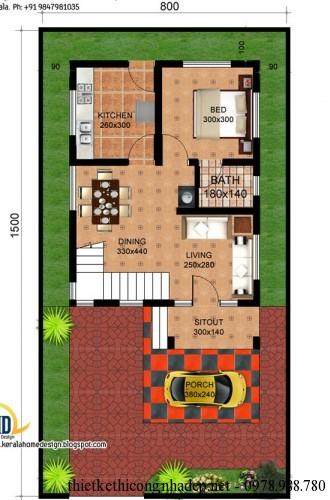 mat bang tang 1 biet thu mai lech 8x15m 330x500 Mẫu biệt thự đẹp 2 tầng hiện đại