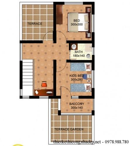 mat bang tang 2 biet thu mai lech 8x15m 445x500 Mẫu biệt thự đẹp 2 tầng hiện đại