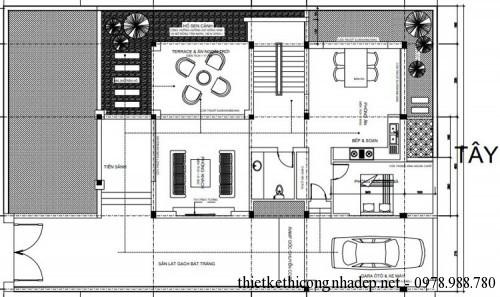 Mặt bằng tổng thể biệt thự 3 tầng