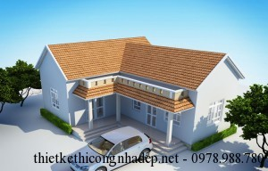 Mẫu thiết kế nhà cấp 4 mái thái hình chữ L diện tích 9x13m