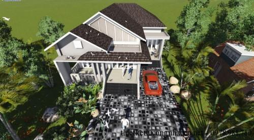 Phối cảnh thiết kế biệt thự cấp 4 nhà vườn góc 2