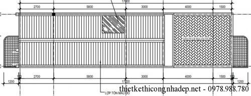 Mặt bằng tầng mái nhà phố 2 tầng 5x17m