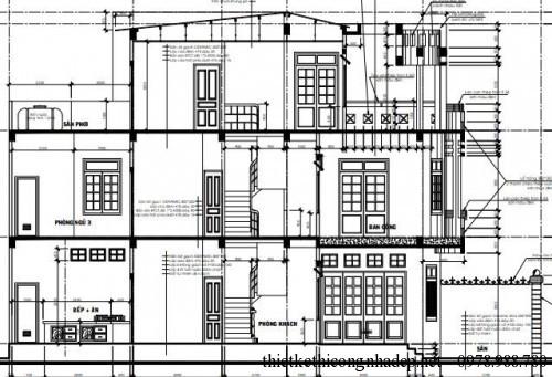 mặt cắt nhà phố 3 tầng diện tích 5x14m