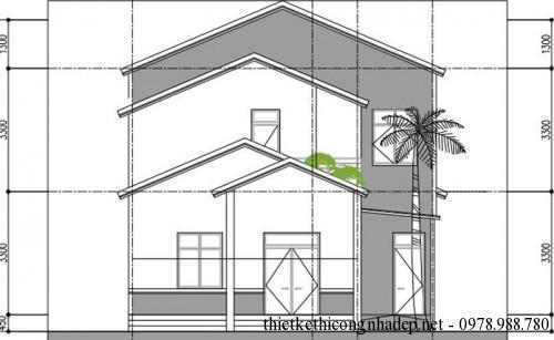 mặt tiền nhà 1.5 tầng phương án 3