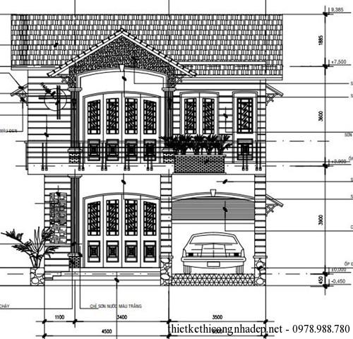 Thiết kế nhà ở 2 tầng mái thái 8.3×14.4m đẹp hiện đại