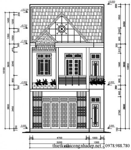 Mẫu bản vẽ nhà phố 2 tầng đẹp hiện đại mặt tiền 6.5m