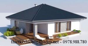 Mẫu thiết kế nhà cấp 4 đẹp hiện đại lợp mái tôn