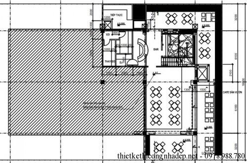 mặt bằng tầng 1 quán cafe