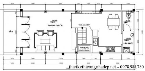 mặt bằng tầng 1 nhà mái tôn