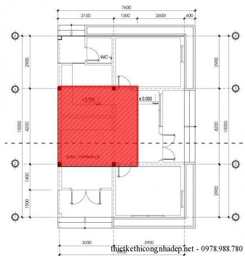 mặt bằng tầng lửng mẫu số 3
