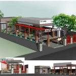Bản vẽ thiết kế và phối cảnh quán cafe xyz coffee