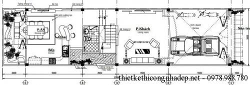 mặt bằng tầng 1 nhà phố 5x20m
