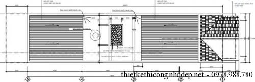 mặt bằng tầng mái nhà phố 4.5x18m
