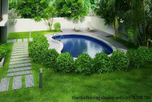 Phối cảnh bể bơi biệt thự kính