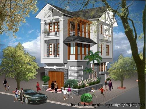 Bản vẽ thiết kế nhà phố 3 tầng mái thái đẹp 6x11m