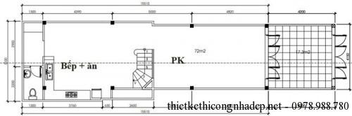 mặt bằng tầng 1 nhà phố 2 tầng 5x18.7m