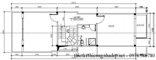 mặt bằng tầng 2 nhà phố 2 tầng 5x18.7m