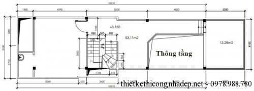 mặt bằng tầng lửng nhà phố 2 tầng 5x18.7m