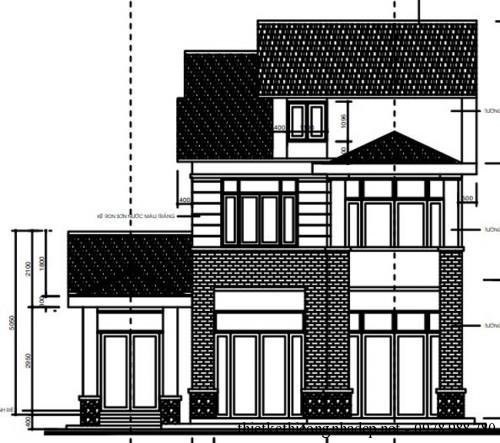 mat dung chinh 500x443 Mẫu biệt thự 2 tầng mái thái hiện đại