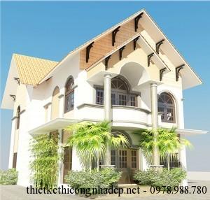Thiết kế nhà biệt thự 2 tầng đẹp hiện đại 8.4x15m