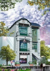 Thiết kế biệt thự hiện đại 3 tầng mái thái 8×15.5m
