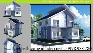 Thiết kế nội thất biệt thự 2 tầng hiện đại mái lệch