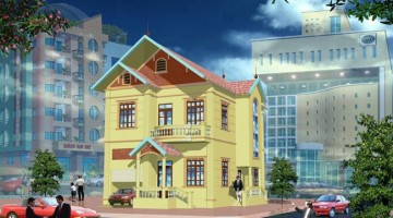 Mẫu thiết kế nhà biệt thự phố 3 tầng đẹp mái thái 8x14m