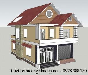 Thiết kế nhà 2 tầng mái ngói đẹp hiện đại 8.7x12m