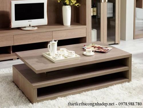 Bàn trà sofa gỗ và kính số 1