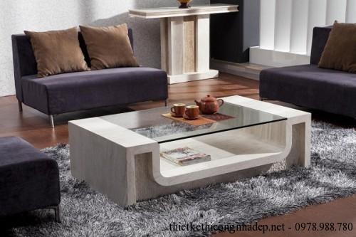 Bàn trà sofa gỗ và kính số 5