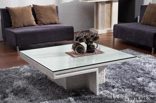 Bàn trà sofa gỗ và kính số 6