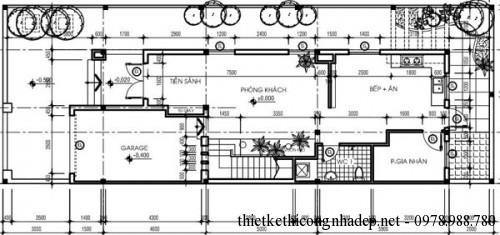 mặt bằng tầng 1 biệt thự song lập 6x17m