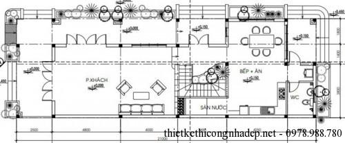 mặt bằng tầng 1 biệt thự 7x21m