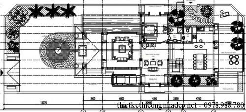 mặt bằng tầng 1 biệt thự vườn 11x20.5m